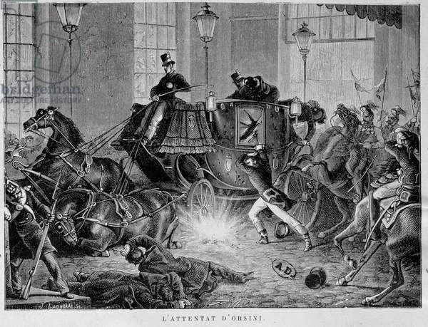 The Orsini bombing on January 14, 1858 Representation of the attack perpetrated by the Italian revolutionary Felice Orsini (1819-1858) against Napoleon III in Paris on January 14, 1858. Engraving of the 19th century Paris, decorative arts
