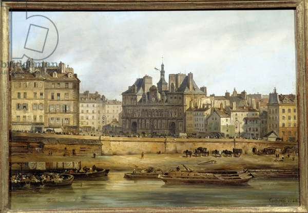 The city hall and the place de Greve seen from the Ile de la Cite in Paris. Painting by Giuseppe Canella (1788-1847) EC.ITAL., 1828. Oil on cardboard. Dim: 0,18 x 0,26m. Paris, Musee Carnavalet