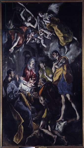 The Adoration of Shepherds Painting by Domenikos Theotokopoulos Dit El Greco (1540-1614), 1603. Oil on canvas. Dim: 3,19x1,8 m. Madrid, Musee Du Prado
