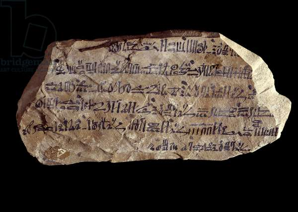 Art of ancient Egypt: ostrakon (or ostracon) (plural: ostraca or ostraka) hieratic (pottery shards on which sacred things are written). New empire of Egypt. Paris, Musee Du Louvre