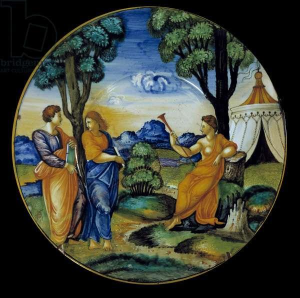 Faience dish made by Francesco Xanto Aveli (active around 1530/1540) representing the Parnassus. Realize in Urbino. 1530. Paris, Louvre Museum