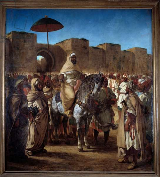 The Sultan of Morocco Muley Abd Err Rahman (Abd Al Rahman or Abderamane or Abderrahmane) leaving his palace in Meknes surrounds with his guard Painting by Eugene Delacroix (1798-1863), 1845 Sun. 3,4x3,77m. Toulouse, Musee des Augustins.
