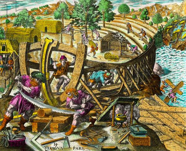 """Construction of a boat for the Spanish navigator Vasco Nunez de Balboa (1475-1517) Engraving from """"History of the Americas"""" by Theodore de Bry (1528-1598) 16th century. Private Collection"""