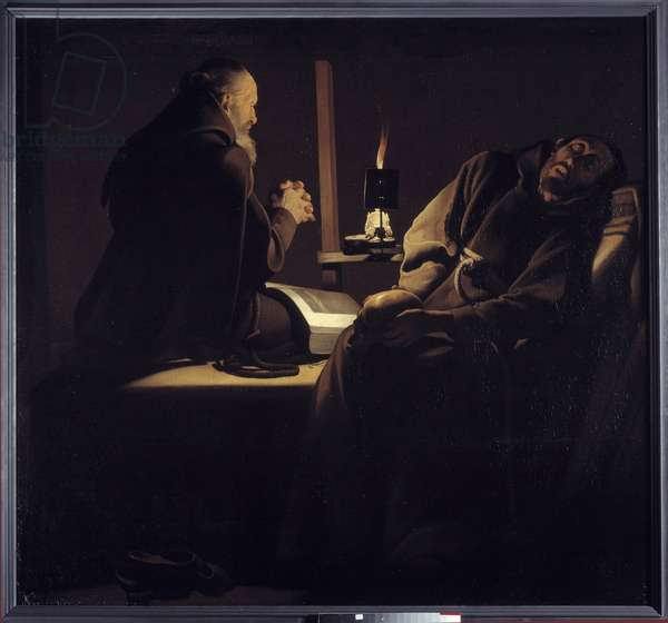 The ecstasy of Saint Francois also called a monk in prayer near a dying monk or the two monks. Painting (Vanite) by Georges de La Tour (1593-1652), 17th century. H S/T 1.54 X 1.63m. Le Mans, Musee de Tesse.