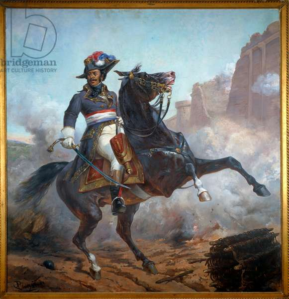 Equestrian portrait of General Alexandre Davy Dumas (1762-1806) father of Alexandre Dumas. Painting by Olivier Pichat (circa 1825-1912), 19th century. Oil on canvas. Villers Cotterets, Musee Alexandre Dumas - Equestrian portrait of General Alexandre Davy Dumas (1762-1806), father of Alexandre Dumas. Painting by Olivier Pichat (circa 1825-1912), 19th century. Oil on canvas. Alexandre Dumas Museum, Villers Cotterets, France
