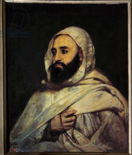 Portrait of Ben Mahi Ed Din Abd El Kader (Abd El-Kader) (1808 - 1883) Emir Algerian (h s/t 0.72 x 0.59) painting by Angel Tissier (1814 - 1876) Versailles. Musee du Chateau.