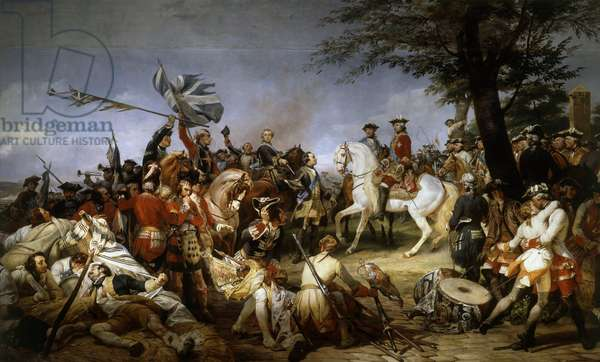 """War of the Succession of Austria (1740-1748): """""""" The Battle of Fontenoy 11/05/1745; the Marechal of Saxony presented to Louis XV the prisoners and the English flags"""""""""""" Painting by Emile Horace Vernet (1789-1863) 1828 Sun. 5,1x9,75 m Versailles, museum of the castle"""