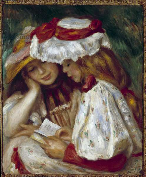 Two Young Girls Reading Painting by Pierre Auguste Renoir (1841-1919), 1891 Private Collection