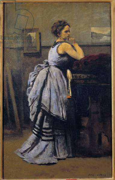 The Lady in Blue Painting by Camille Corot (1796-1875) 1874 Sun. 0,8x0,5 m Paris musee du Louvre