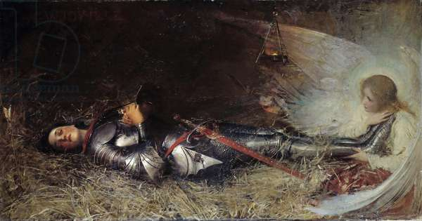 """Hundred Years' War: """""""" The Sleep of Joan of Arc (1412-1431) in Prison"""""""" Painting by William George Joy (1844-1925) 1895, 111 x 210 cm. Rouen, musee des Beaux Arts - Hundred Years War: """""""" The martyrdom of Joan of Arc (1412-1431)"""" (30th May 1431) at the stake, on place du vieux marche, in front of the St Vincent Church - Painting by Frederic Legrip (1817-1871), 1860. 188x130 cm. Beaux-Arts Museum, Rouen, France"""