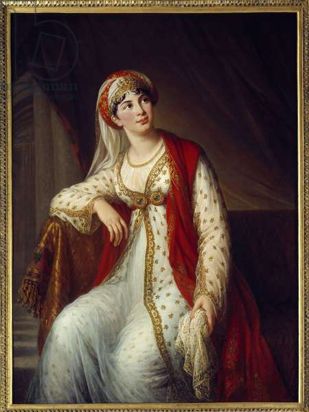 Portrait of Italian singer Giuseppina Grassini (1773-1850) in the role of Zaire in Voltaire's play of the same name (1694-1746) She was the mistress of Napoleon Bonaparte and the Duke of Wellington. Painting by Marie Elisabeth Louise Vigee Le brun (ou Vigee-Lebrun ou Vigee Lebrun) (1755-1842) 1804 Sun. 1,27x0,95 m Rouen, musee des Beaux Arts