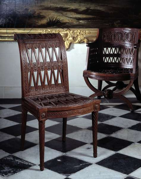 Chair commissioned for Marie Antoinette's dairy. Carved mahogany furniture by Georges Jacob (1739-1814), 1787. Versailles, Musee Du Chateau