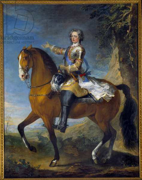 Equestrian portrait of Louis XV (1710-1774), King of France, at the age of 13, in 1723. Painting by Jean Baptiste Van Loo (1684 - 1745) and Charles Parrocel (1688-1752), 18th century. Oil on canvas. Dim: 2,61 x 2,09m. Versailles, Musee Du Chateau - Equestrian portrait of Louis XV (1710-1774), King of France, at the age of thirteen (1723). Painting by Jean Baptiste Van Loo (1684 - 1745) and Charles Parrocel (1688-1752), 18th century. Oil on canvas. 2.61 x 2.09 m. Castle Museum, Versailles, France