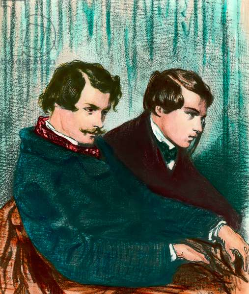 Portrait of Edmond Goncourt (1822-1896) and Jules Goncourt (1830-1870) brothers writers. Drawing by Paul Gavarni (1804-1866)