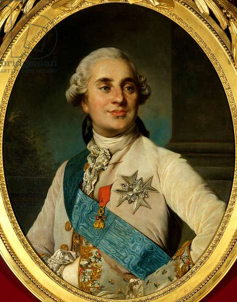 Portrait of Louis XVI (1754 - 1793), King of France. Painting by Joseph Siffred Duplessis (1725-1802) (Joseph-Siffred, Joseph Siffrede, Joseph-Siffrede, Joseph Siffrein, Joseph-Siffrein), 18th century - Oil on canvas - Sun: 0,80 x 0,62m -