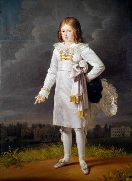 Portrait in foot of Frederic Napoleon, Prince Bacciochi (1814-1833) Painting by Barbara Kraft (1764-1825) 1819 Sun. 1,7x1,05 m