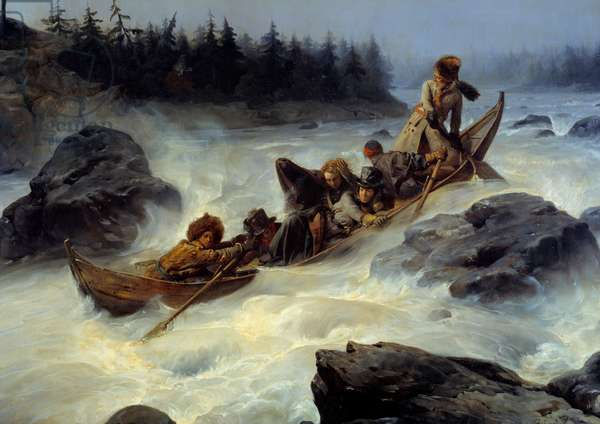 The Duke of Orleans (who became King Louis Philippe 1st, 1773-1850) descending the great Rapid of Eijampaika on the Muonio River in Lapland in August 1795 - Episode of exile in Norway and Sweden in 1795 Painting by Francois Auguste Biard (1798-1882) 19th century Sun. 1,31x1,63 m  - The Duke of Orleans (the future King Louis Philippe I - 1773-1850) riding dawn the great rapid Eijampaika on the Muonio river in Lapland, August 1795 - Exile's episode in Norway and Sweden in 1795. Painting by Francois Auguste Biard (1798-1882), 19th century. 1,31 x 1, 63 m.