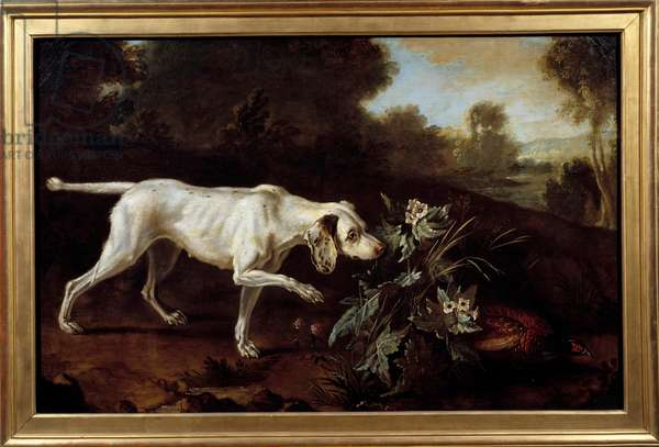 Dog will stop in front of the game. Anonymous painting of the French school, 18th century. Paris, Decorative Arts