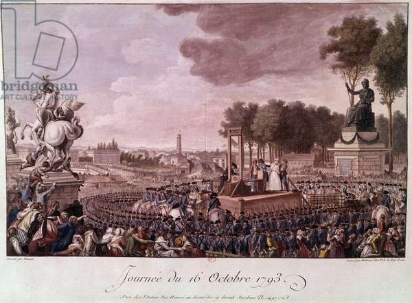Execution of Marie Antoinette: Queen Marie Antoinette on the scaffold on October 16, 1793. Engraving of the 18th century. Paris. B N