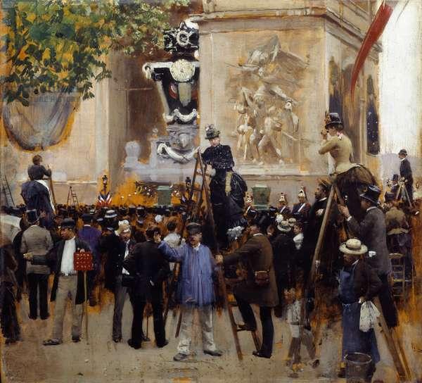 The funeral of Victor Hugo (1802 - 1885) Place de l'Etoile on June 1, 1885. Painting by Jean Beraud (1849-1935), 1885. Oil on wood. Dim: 0.31 x 0.35m. Paris, Musee Carnavalet