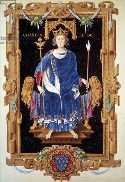 "Portrait in foot of King Charles IV the Bel (1293-1328) Miniature by Jean du Tillet (1484-1520) from """" Recueil des kings de France"""" 16th century Paris, B.N."