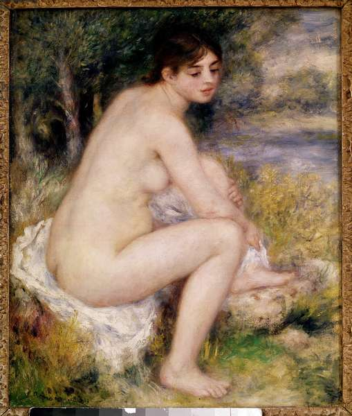 Woman Nude in a Landscape Painting by Pierre Auguste Renoir (1841-1919) 1883 Paris, Musee d'Orsay