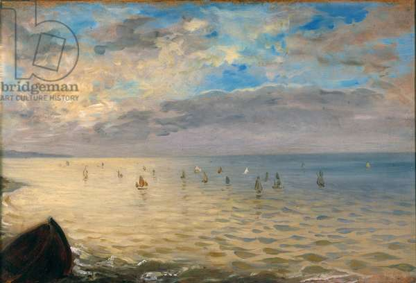 The sea seen from the heights of Dieppe. Painting by Eugene Delacroix (1798-1863), 1852. Dim. 0,36x0,52m.
