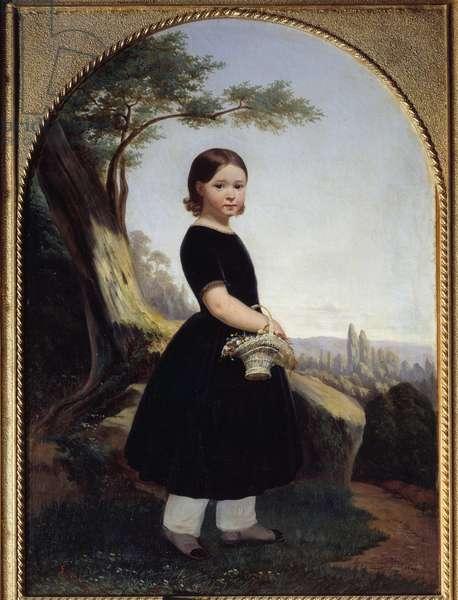 Portrait of a little girl (Esther Debost) Esther Debost, cousin of the artist. Painting by Hippolyte Lazerges (1817-1887) 1843 Sun. 0,81x0,61 m Rouen, musee des Beaux Arts
