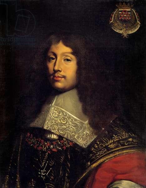 Portrait of the Duke Francois de la Rochefoucauld (1613-1680), French writer Painting by Theodore Chasseriau (1819-1856) 19th century Sun. 0,73x0,57 m