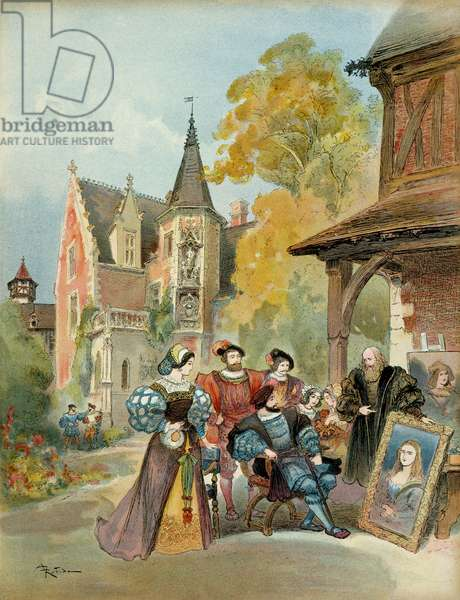 King Francois I (1494-1547) buying the Mona Lisa to Leonard de Vinci (Leonardo da Vinci) (1452-1519), close to the royal castle of Amboise, between 1516 and 1519. Illustration, 1909, by Albert Robida (1848-1926). Particuliere collection.