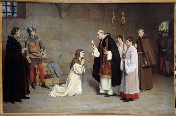 """Hundred Years' War: """""""" The Last Communion of Joan of Arc (1412-1431)"""" Painting by Charles Henri Michel (1817-1905) 1899. Sun. 0,73x0,6 m Rouen, musee des Beaux Arts - Hundred Years War: """""""" The last communion of Joan of Arc (1412-1431) """""""". Painting by Charles Henri Michel (1817-1905), 1899. 0.73 x 0.6 m. Beaux-Arts Museum, Rouen, France"""