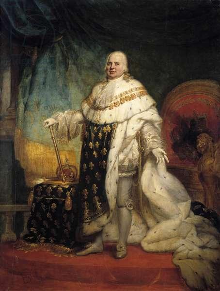 Portrait en pied de Louis XVIII (1755-1824) en costume de corre Painting by Jean Baptiste Paulin-Guerin (Paulin Guerin) (1783-1855) 1824 Sun. 2,69 x 2,04 m  - Full-length portrait of Louis XVIII (1755-1824) in coronation robes. Painting by Paulin Guerin (1783-1855), 1819. 2.69 x 2.04 m.