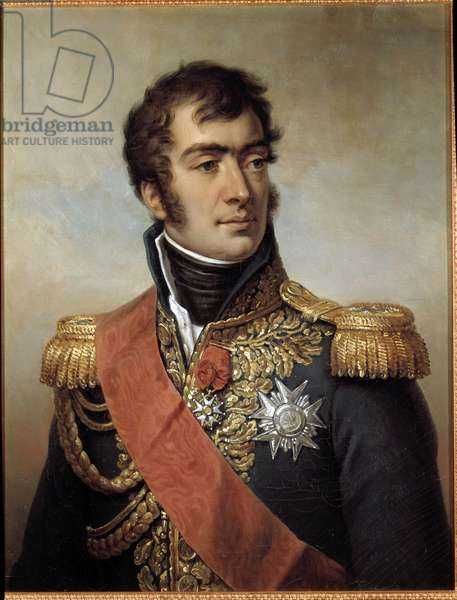 Portrait of Auguste Frederic Louis (Auguste-Frederic-Louis) of Viesse de Marmont, Duke of Raguse Marechal of the Empire in 1809 (1774-1852) - represented in uniform with plaque of the Legion of Honour under the Restoration. Painting by Paulin Jean-Baptiste Guerin (1783-1855), oil on canvas, 71 x 55 cm. Musee de Versailles. - Portrait of Frederic Auguste- Louis de Viesse Marmont, Duke of Ragusa, Marshal of the Empire in 1809 (1774-1852) - depicted in uniform with the Legion of Honor star during the French Restoration. Painting by Paulin Jean-Baptiste Guerin (1783-1855), oil on canvas, 71 x 55 cm.