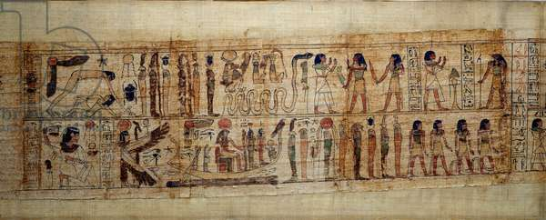 Ancient Egyptian Art Mythological Papyrus of Serimen. On top: during the creation of the world, the god Geb (Earth) is separated from the goddess Nout (heaven); gods and genies from the on. Below: Serimen pays homage to the sun that is flooding with its rays; the sun with the head of a falcon sails in a boat, protected by the goddess Isis and Nephtys; the god Thot (baboon). Manuscript of the 21st dynasty (ca. 1069-945), third intermediate period (ca. 1069-664 BC). Painting.
