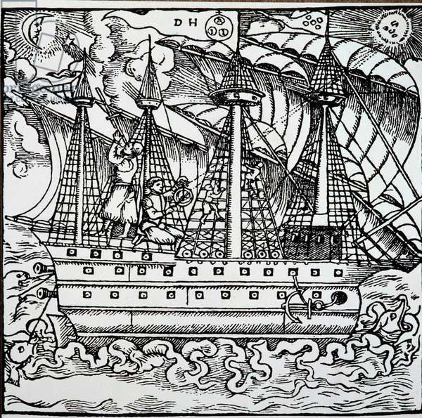 A navigator on a Portuguese caravel using an astrolabe. Engraving from the travel stories of the German navigator Hans Staden (1525-1579), 1557. Lisbon, National Museum of Ancient Art