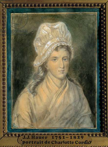 Portrait of Charlotte Corday (1768-1793) Painting by Jean Jacques Hauer (1751-1829) 18th century. Versailles. Lambinet Museum