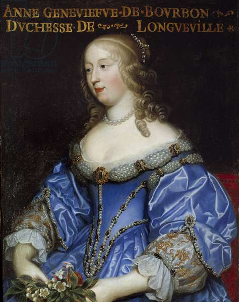 Portrait of Anne Genevieve de Bourbon Conde (Anne-Genevieve de Bourbon-Conde), Duchess of Longueville (1619-1679) Painting of the French School, 17th century Sun 0,8x0,64 m