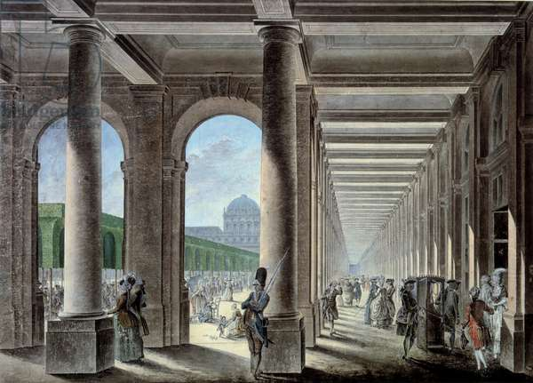The galleries and gardens of the Palais Royal. Lithography of the 18th century. Paris, B.N.