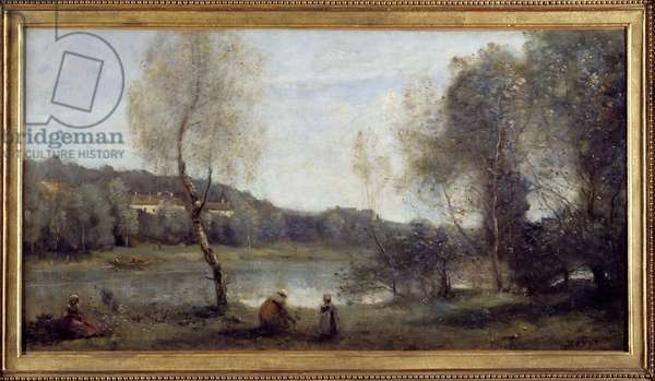 View of Ville d'Avray; the pond at work in front of the villas. Painting by Camille Corot (1796-1875), 1873. Oil on canvas. Dim: 0.43 X 0.80m. Rouen, Museum of Fine Arts