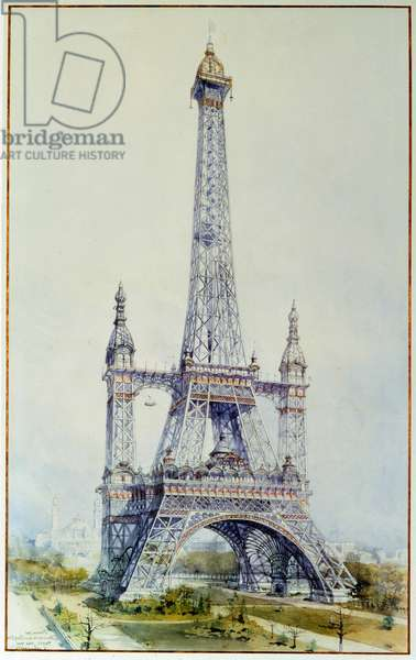 Project to modify the Eiffel Tower for the 1900 exhibition (May 1896). Engraving from 1896. Paris, National Archives
