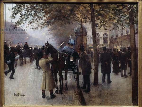 Boulevard des Capuchines in front of the Neapolitan cafe. Painting by Jean Beraud (1849-1935), 19th century. Oil on canvas. Dim: 0,32 x 0,40m. Paris, Musee Carnavalet.