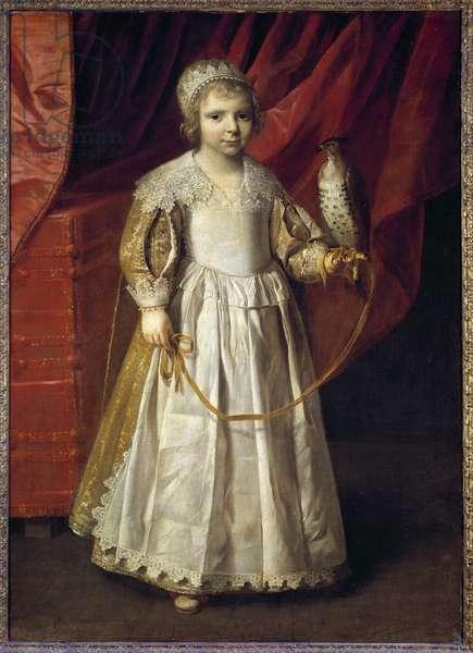 Portrait of Anne Marie de Chevreuse (1624-1652) daughter of the great falconer Claude de Lorraine, Duke of Chevreuse Painting by Philippe de Champaigne (1602-1674), 1628 Sun. 1,23 X 0,89 m