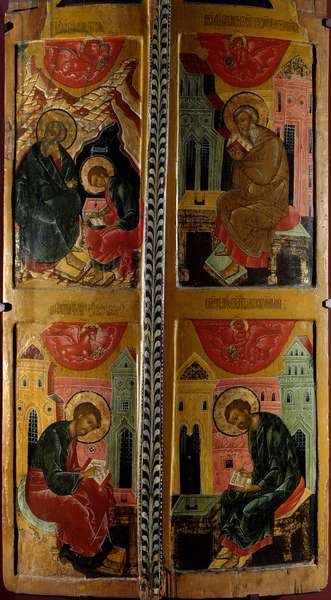 The Four Evangelists Russian icon. Wood painting from 1660. Rouen, Museum of Fine Arts