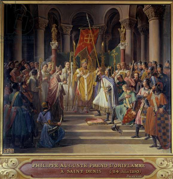 """Third Crusade: """""""" King Philip Augustus (1165-1223) takes the oriflame Saint-Denis and receives the bumblebee and the pannetiere of the pelerin from the hands of his uncle William Archeveque of Reims and legat of Pope Clement III, before his departure for the Crusade, June 24, 1190"""" Painting by Pierre-Henri Revoil (1776-1841. Dim. 0,71x0,79 m."""