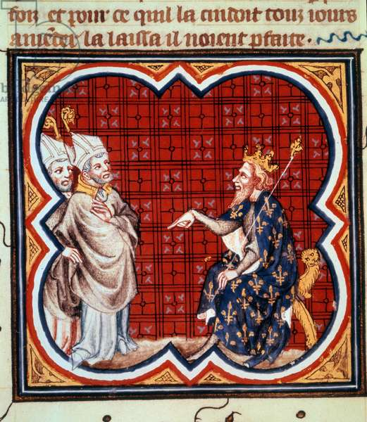 """Saint Gregoire archaic of towers (538-594) and Saint Salvius (Salve) eveque of Albi condemning the heresy of Chilperic I (539-594). Miniature in """""""" Grandes Chronicles de France. Grandes Chronicles de France de Charles V"""" (folio 41v), unidentified author (ca. 1375-1380). Paris, NL"""