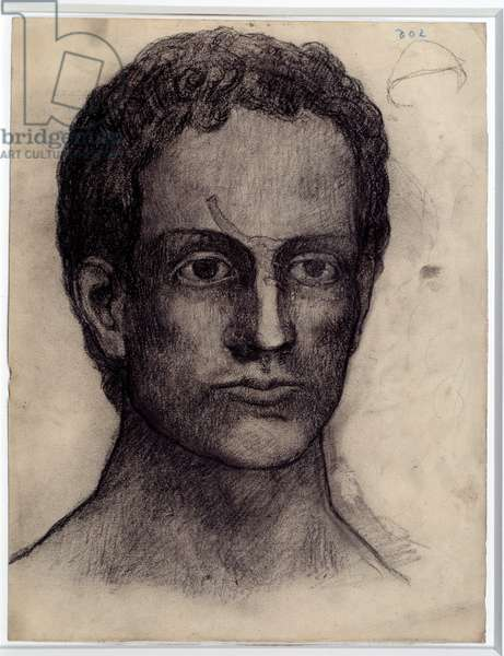 Man portrait. Drawing by Pablo Picasso (1881-1973), 1902. Charcoal. Dim: 0,32 x 0,24m. Paris, Musee Picasso.
