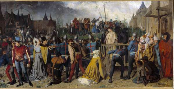 100-year war: Joan of Arc led to the butcher (1412-1431). Painting by Patrois Isidore (1815-1884) Ec. Fr., 19th century. Rouen, Museum of Fine Arts