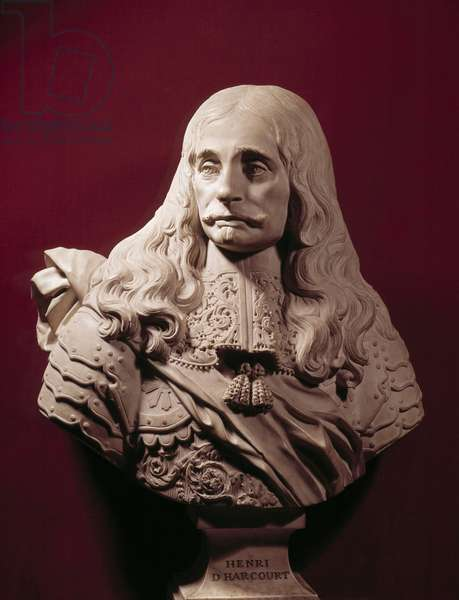 Bust of Henri, I Duke of Harcourt in 1700, Marechal of France in 1703 (1654-1718), representative age, wearing the command scarf Marble sculpture. Versailles, castle museum