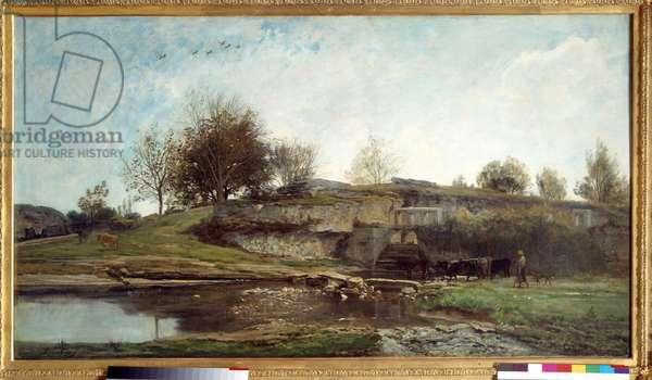 Veu de l'ecluse d'Optevoz Painting by Charles Francois Daubigny (1817-1878) 1855. Barbizon school. Sun 0,92x1,62 m Rouen, musee des Beaux Arts