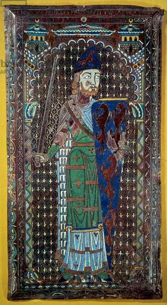 Representation of Geoffroi V (Geoffroy) Le Bel Plantagenet (Comte du Maine et d'Anjou, Duke of Normandy) (1113-1151) Grave plaque in email. 1151. Musee de Tesse. Le Mans